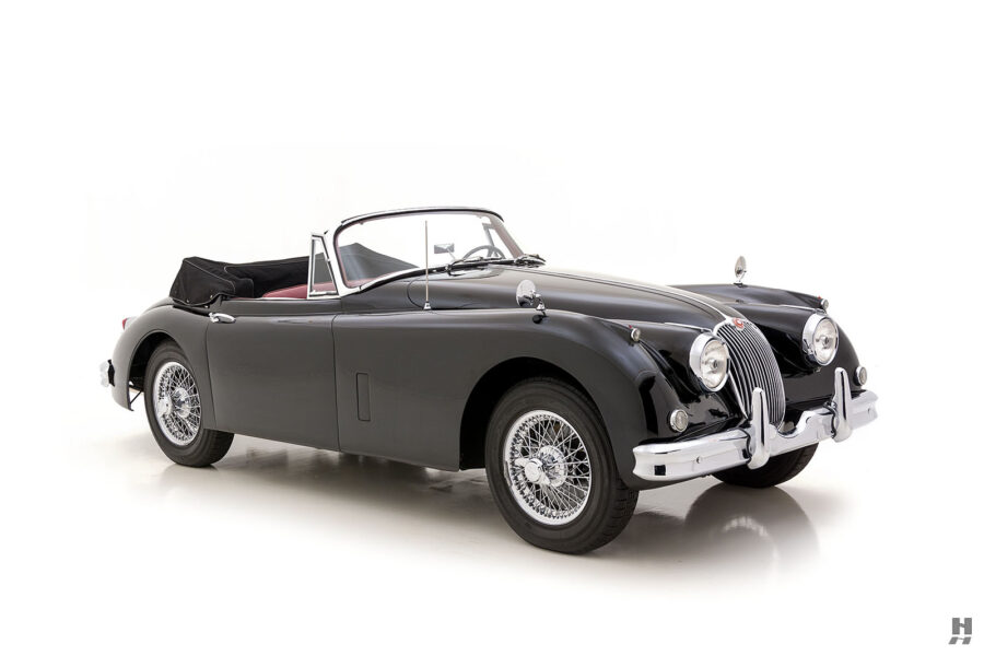angled view of antique jaguar coupe for sale at hyman classic cars