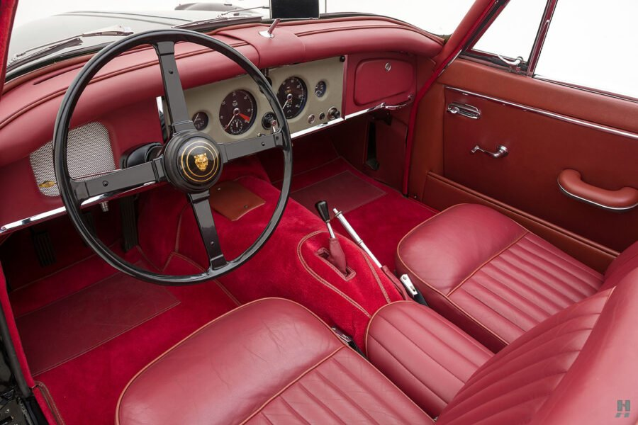 front interior of antique jaguar coupe for sale at hyman classic cars
