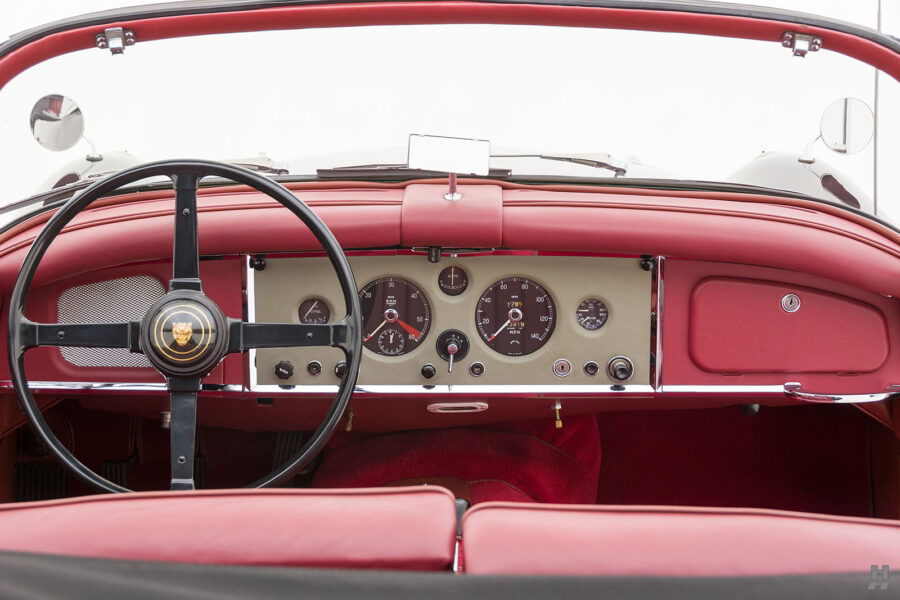 dashboard on antique jaguar coupe for sale at hyman classic cars