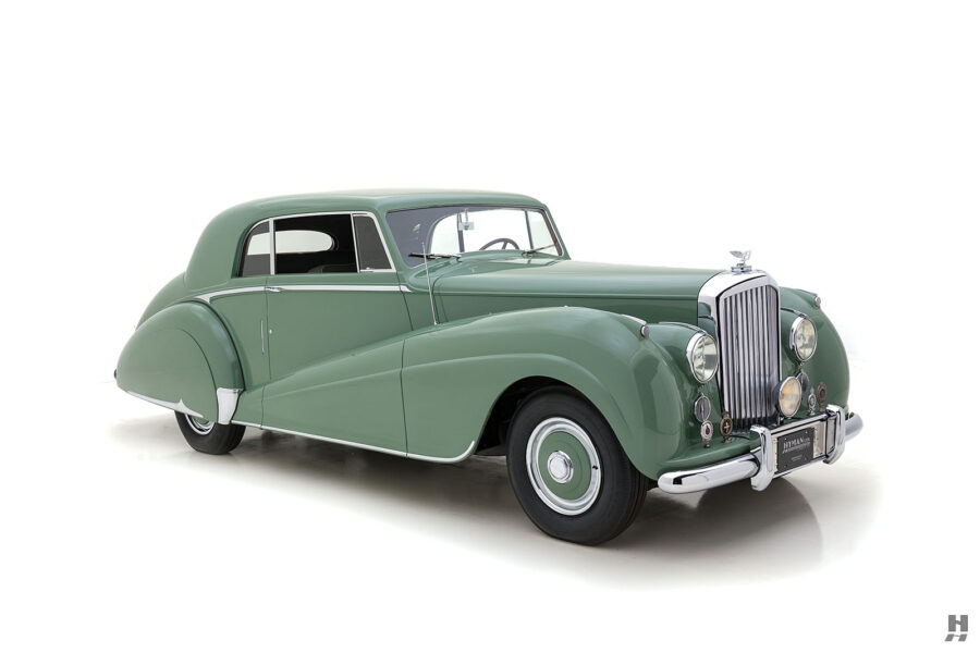 angled frontside of classic 1951 bentley ward coupe for sale at hyman cars