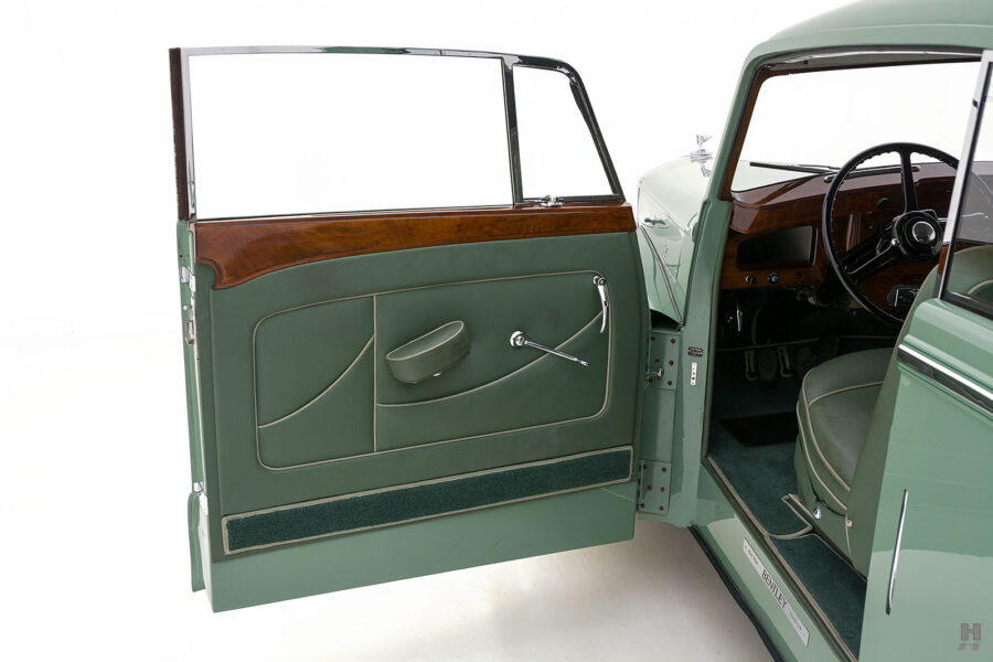 driver's side door of classic 1951 bentley ward coupe for sale at hyman cars