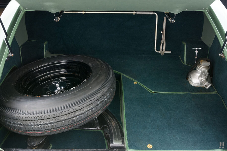 spare tire in trunk of classic 1951 bentley ward coupe for sale at hyman cars