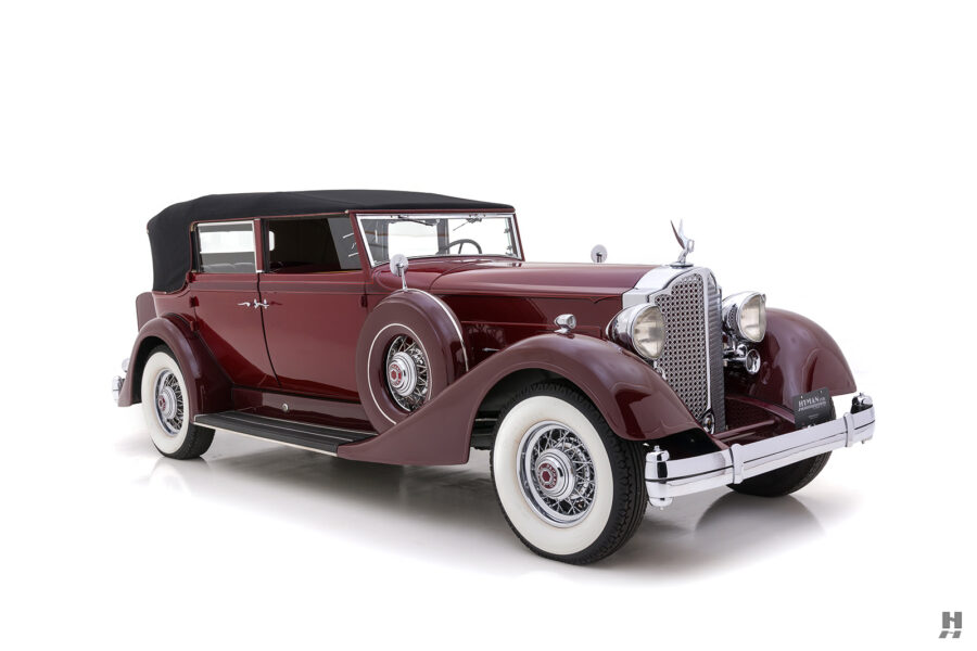 Angled Front Side View of Classic 1934 Packard Convertible Sedan - Find More Cars For Sale at Hyman Consignment Dealers in St. Louis, Missouri