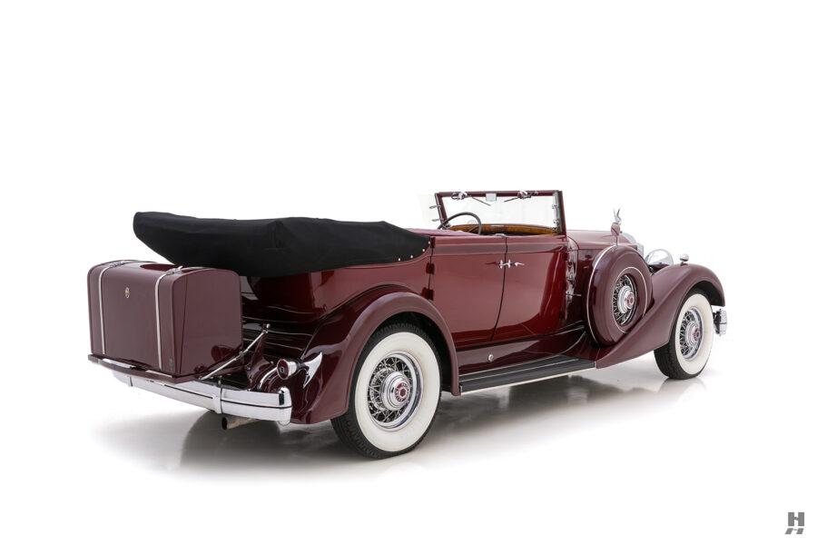 Angled Backside View of Classic 1934 Packard Convertible Sedan For Sale at Hyman Consignment Dealers