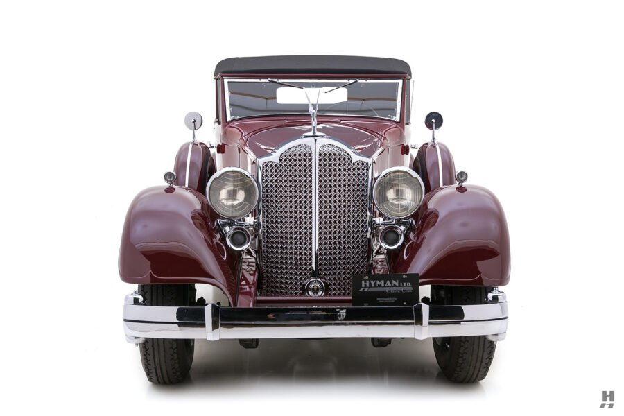 Front View of Old 1934 Packard Sedan For Sale at Hyman Classic Car Dealership in St. Louis, Missouri