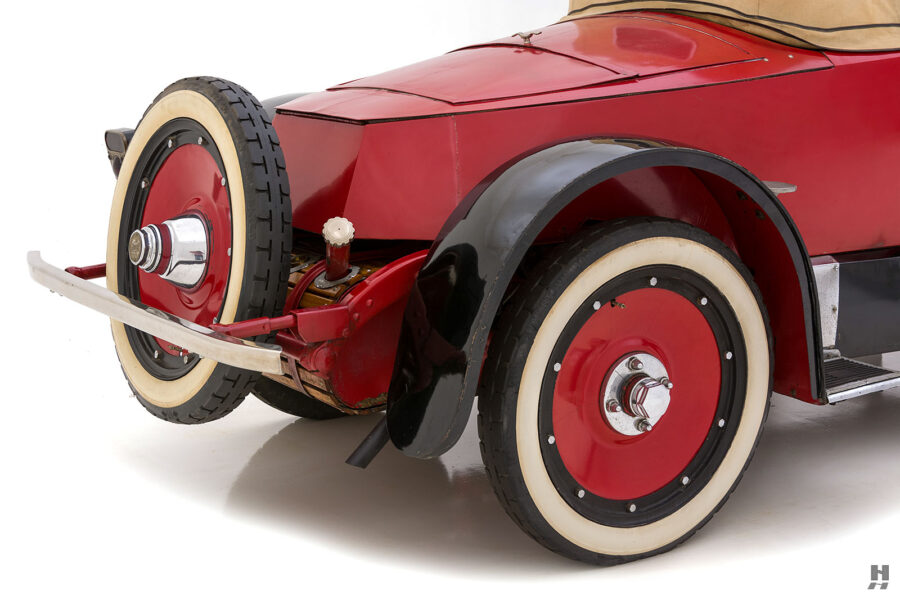 Close up of back end of classic 1922 Roadster car available to buy at Hyman