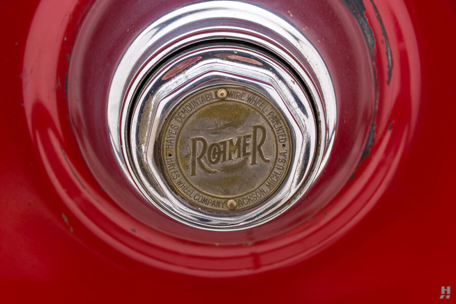 Close up of logo on classic 1922 Roadster car for sale