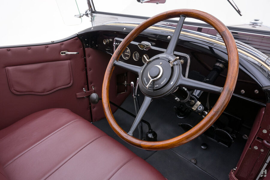 Angled Right Side View of Steering Wheel on An Old Classic 1929 Buick - See More Specialty Cars at Hyman