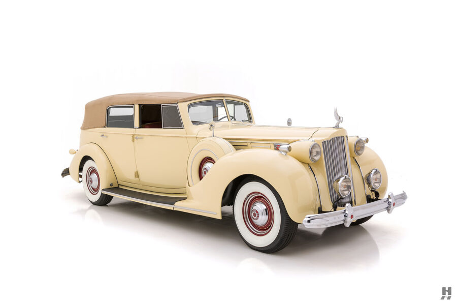 Angled front side of classic 1938 Packard Convertible for sale at Hyman