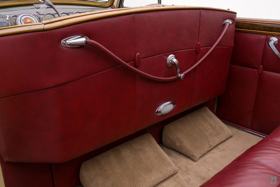 Back interior of 1938 Packard Convertible car for sale at Hyman dealers