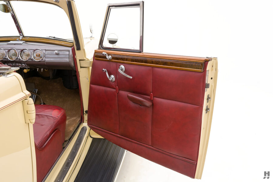 Passenger's side door on classic 1938 Packard Convertible Sedan for sale at Hyman dealers