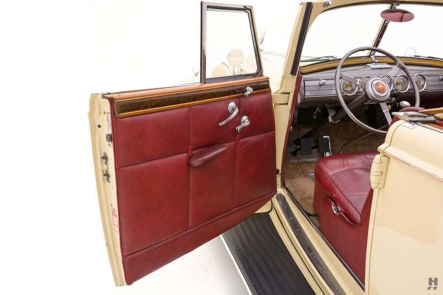 Driver's side door of classic 1938 Packard Convertible Sedan for sale at Hyman