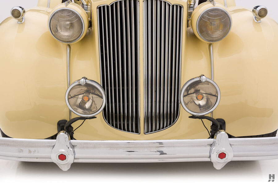 Close up of front on classic 1938 Packard Convertible for sale at Hyman