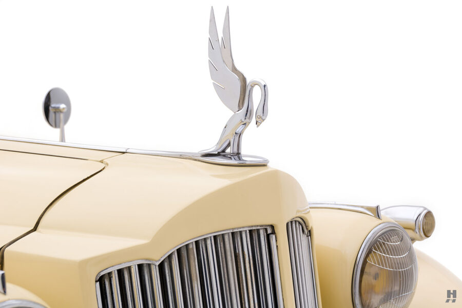 front logo of classic 1938 Packard car for sale at Hyman dealers