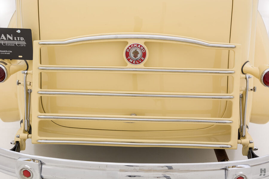 Close up of backside of classic 1938 Packard Convertible Sedan car for sale at Hyman vintage automobile dealers in St. Louis, Missouri