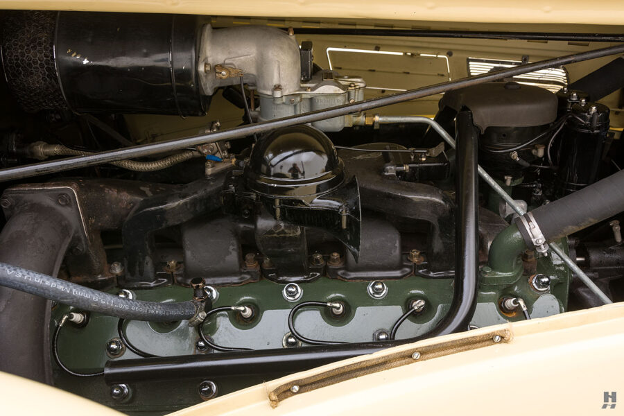 Engine of classic 1938 Packard Convertible Sedan for sale at Hyman car dealers in St. Louis, Missouri