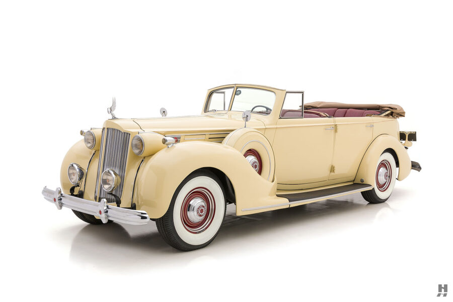Angled front view of classic 1938 Packard Convertible Sedan for sale at Hyman car dealers in St. Louis, Missouri