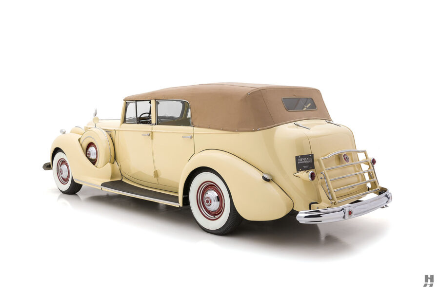 angled backside view of classic 1938 Packard Convertible car for sale