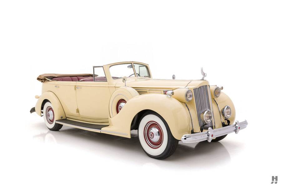 Angled front view of classic 1938 Packard Convertible Sedan for sale at Hyman car dealership in St. Louis, Missouri