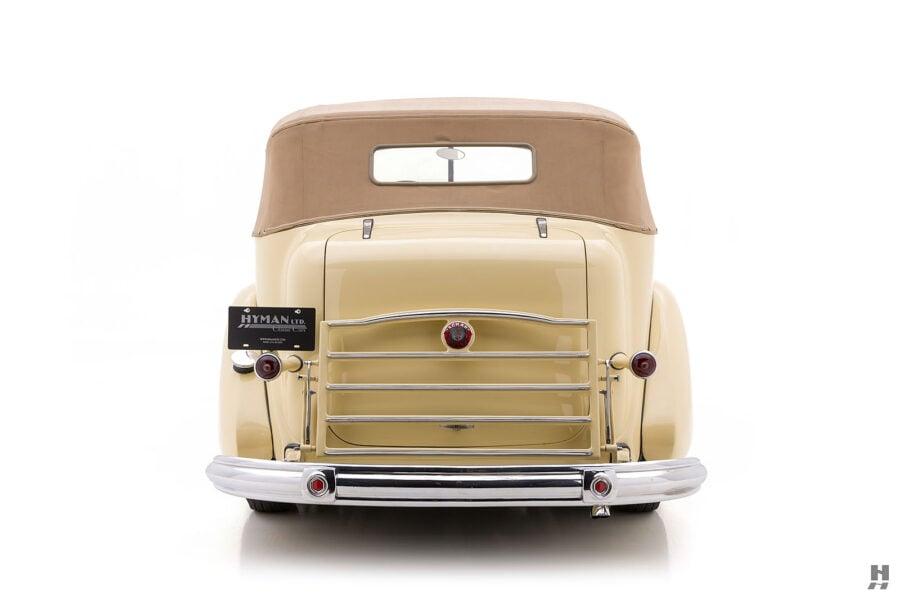 Backside of 1938 Packard Convertible Sedan for sale at Hyman car dealers in St. Louis, Missouri