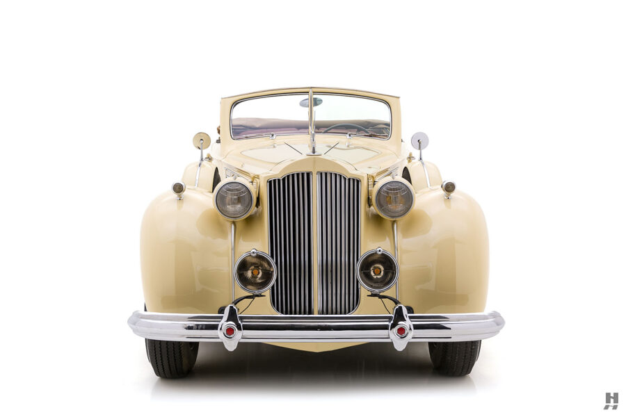 Front view of classic 1938 Packard Convertible Sedan for sale at Hyman car dealers in St. Louis, Missouri