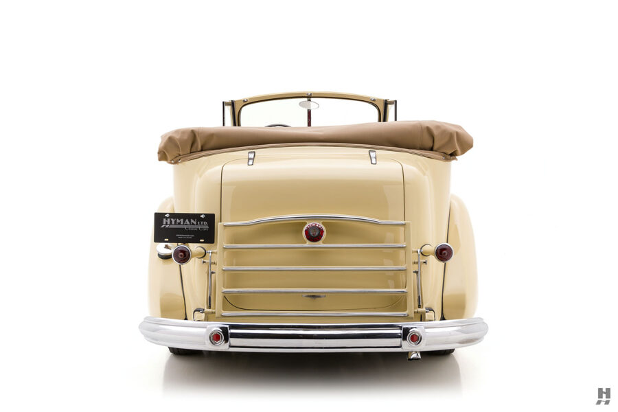 Backside view of 1938 Packard Convertible Sedan for sale at Hyman classic car dealers in St. Louis, Missouri