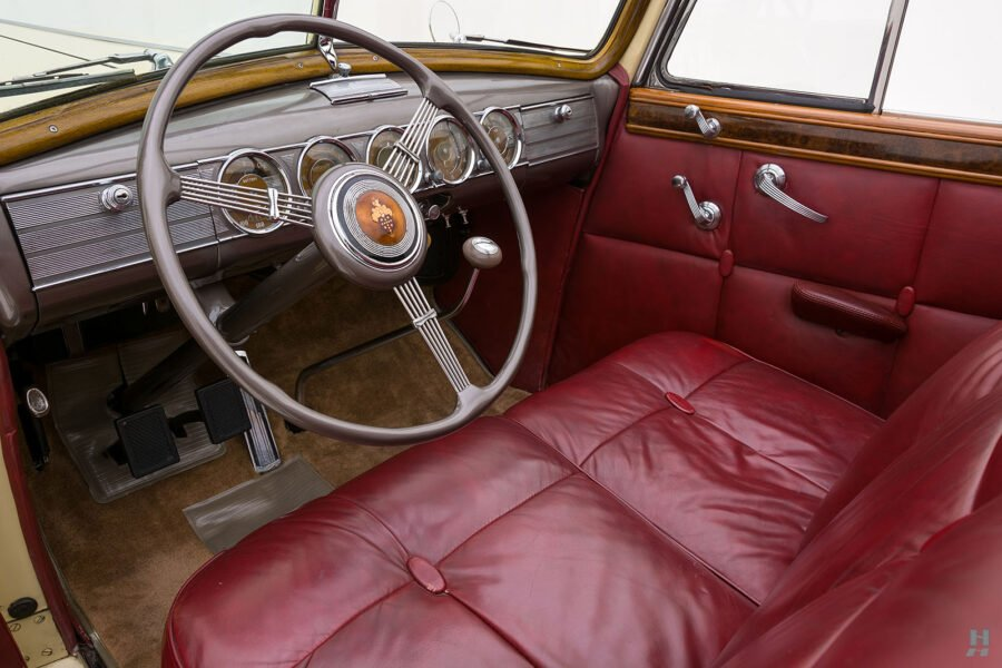 Angled front interior view of classic 1938 Packard Convertible car for sale