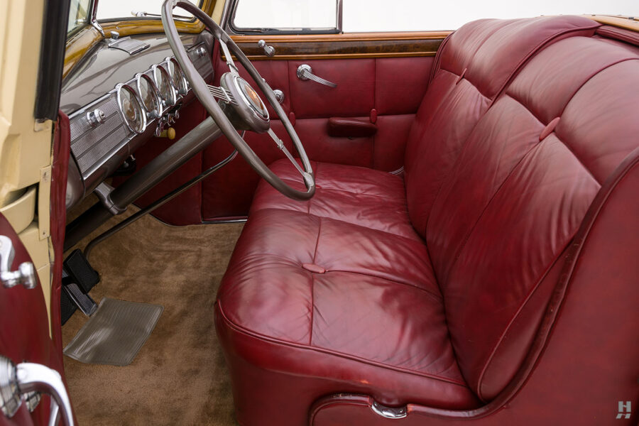 side view of front interior of 1938 Packard Convertible car for sale at Hyman