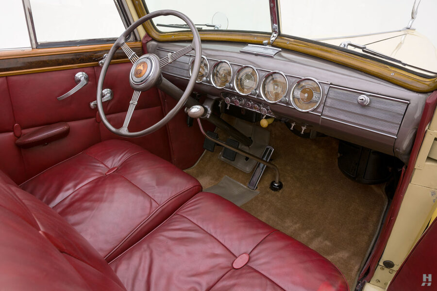 front interior view of classic 1938 Packard Convertible for sale at Hyman