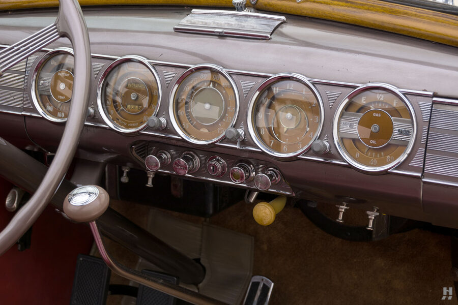 dashboard of classic 1938 Packard Convertible car for sale at Hyman