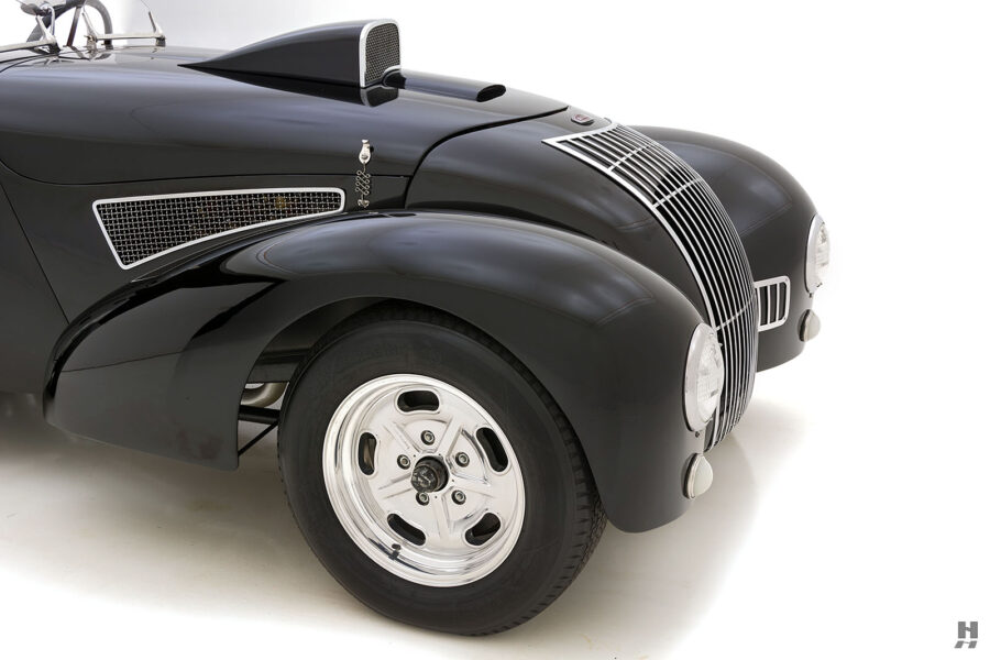 Angled Front View of Vintage 1947 Allard Vehicle For Sale at Hyman Automobile Dealers in St. Louis