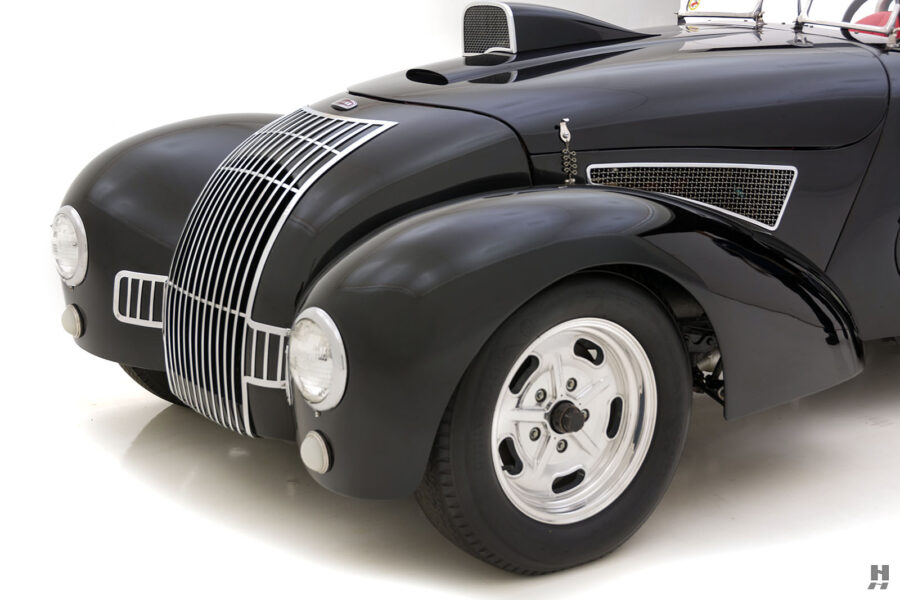 Angled Front View of Classic 1947 Allard Roadster Car For Sale at Hyman Consignment Dealers in St. Louis