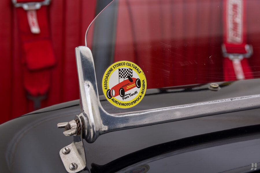 Close Up of Sticker on Windshield of Rare 1947 Allard Roadster For Sale at Hyman Automobile Dealers in St. Louis