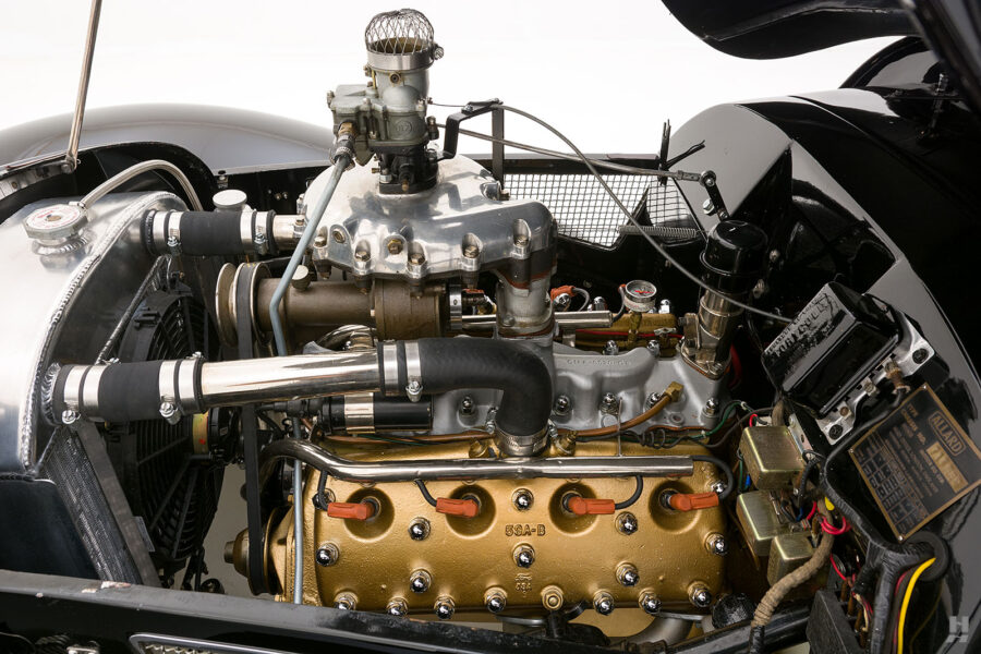 Engine of Classic 1947 Allard Roadster Automobile For Sale at Hyman in St. Louis, Missouri