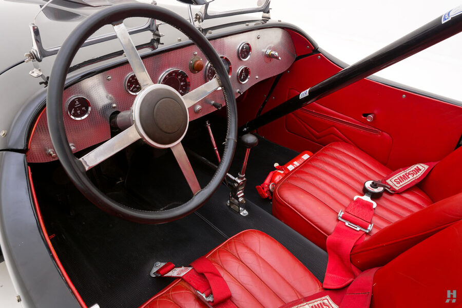 Angled View of Front Seats on Vintage 1947 Allard Roadster Automobile For Sale at Hyman Car Dealers in St. Louis