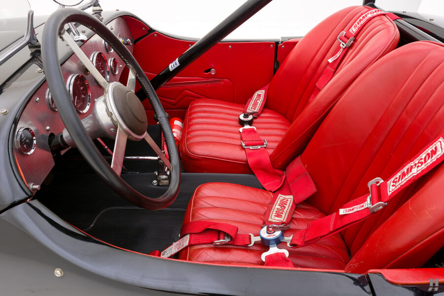 Side View of Front Seats on Restored 1947 Allard Vehicle For Sale at Hyman Classic Car Dealers in St. Louis