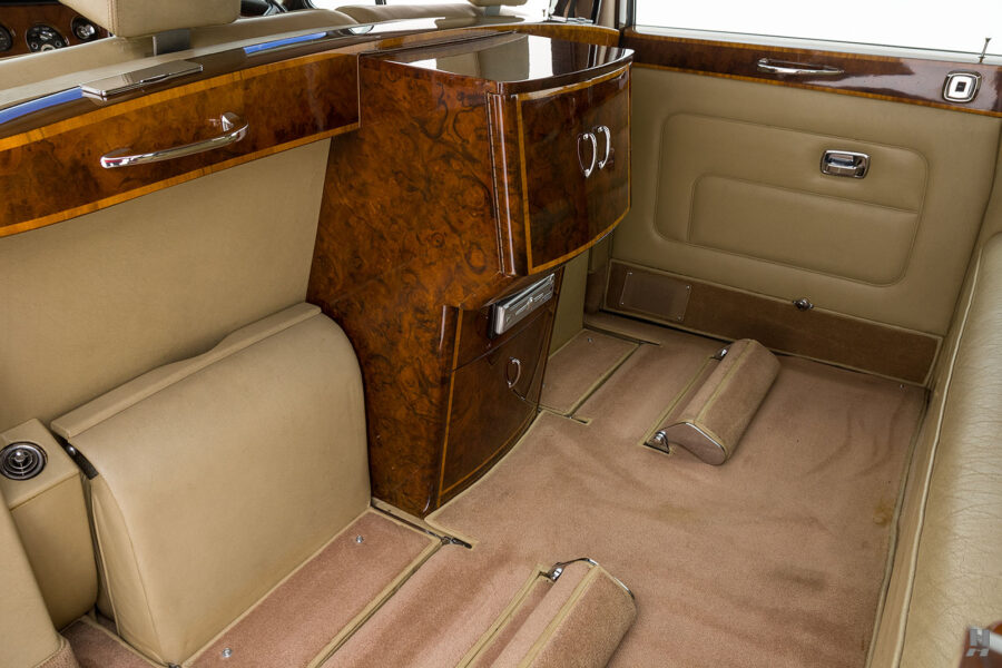 View of interior compartments and rear door in classic 1975 Rolls-Royce Phantom model for sale at Hyman automobile dealers in St. Louis, Missouri