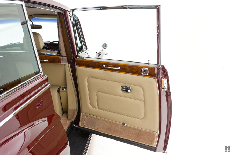 Rear left side door of vintage 1975 Rolls-Royce Phantom car for sale at Hyman consignment dealers in St. Louis, Missouri