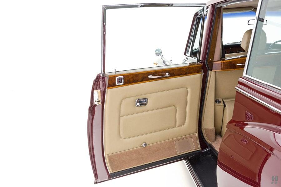 Rear right side door of vintage 1975 Rolls Royce Phantom model for sale at Hyman dealers in St. Louis, Missouri
