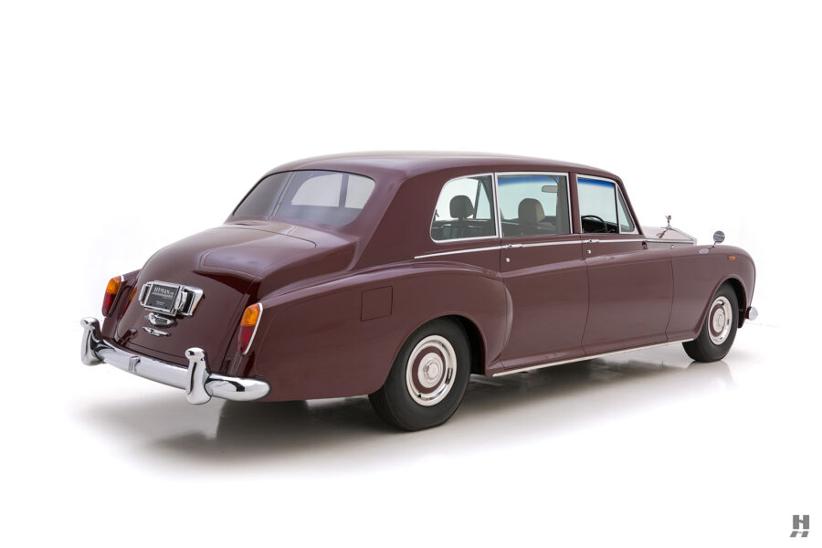 Angled backside view of classic 1975 Rolls-Royce Phantom for sale at Hyman consignment dealers in St. Louis, Missouri