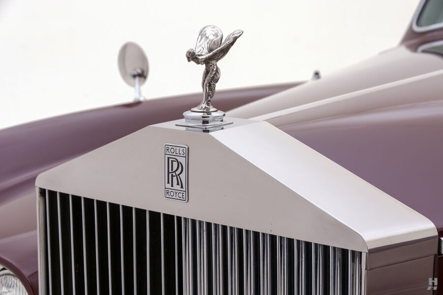 Close up of classic 1975 Rolls-Royce Phantom logo for sale at Hyman consignment dealers in St. Louis, Missouri