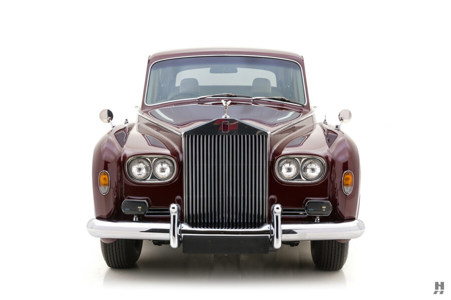 Front of classic 1975 Rolls-Royce Phantom model for sale at Hyman car dealership in St. Louis, Missouri