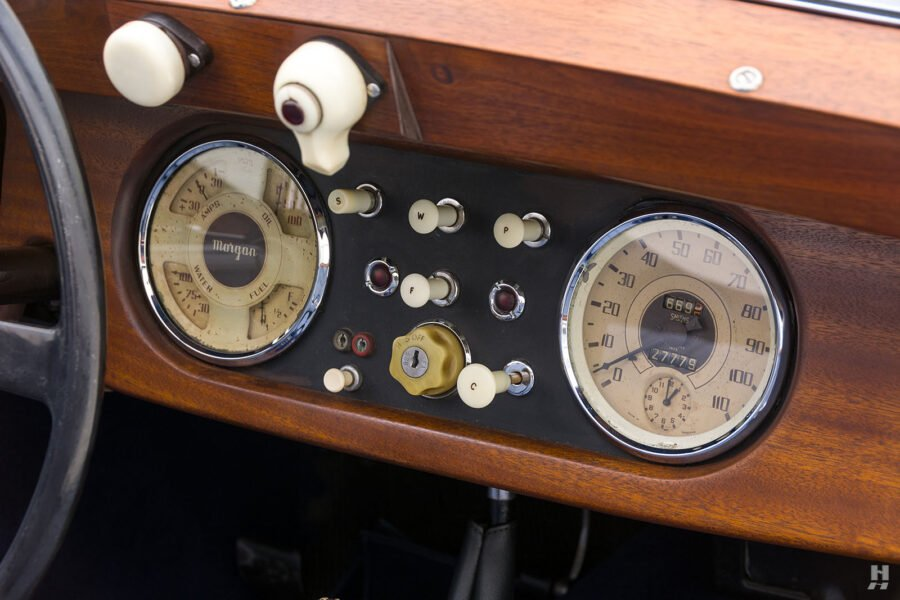 Speedometer and dashboard in vintage 1953 Morgan Drophead Coupe for sale online at Hyman Dealers in St. Louis, Missouri