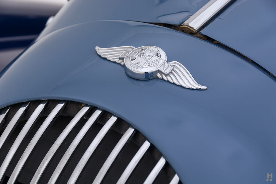 Close up of logo on vintage 1953 Morgan Coupe for sale at Hyman vehicle consignment dealers in St. Louis, Missouri