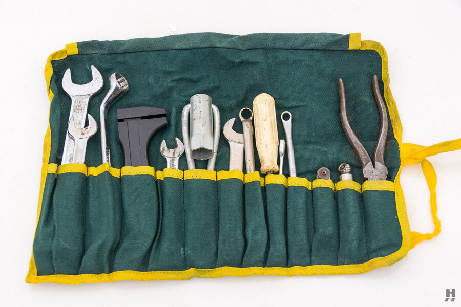 Toolkit for classic 1953 Morgan Drophead Coupe car - find more fully restored vehicles at Hyman in St. Louis, Missouri