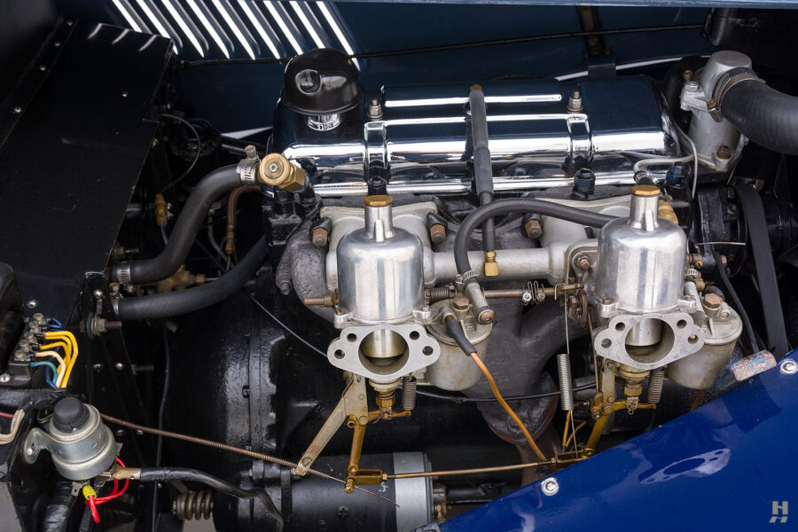Close up of engine in classic 1953 Morgan Drophead Coupe - find more fully restored automobiles at Hyman in St. Louis