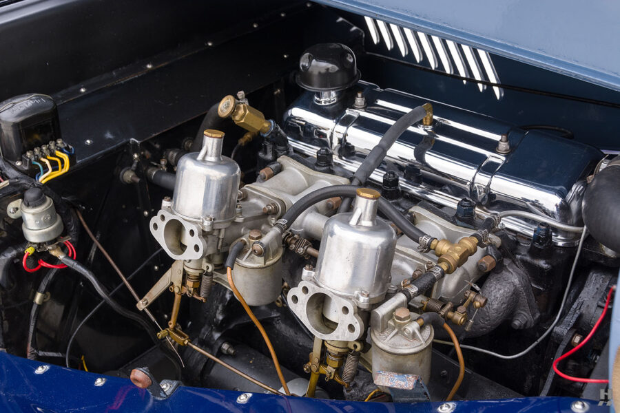 Close up of engine in classic 1953 Morgan Coupe car for sale at Hyman consignment dealers in the Midwest