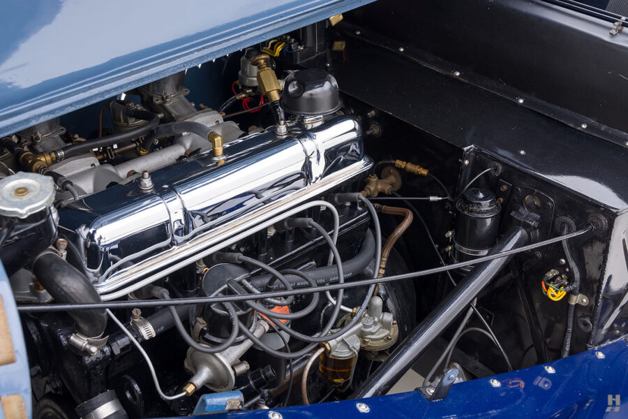 Engine in classic 1953 Morgan Coupe car for sale at Hyman consignment dealers in the Midwest