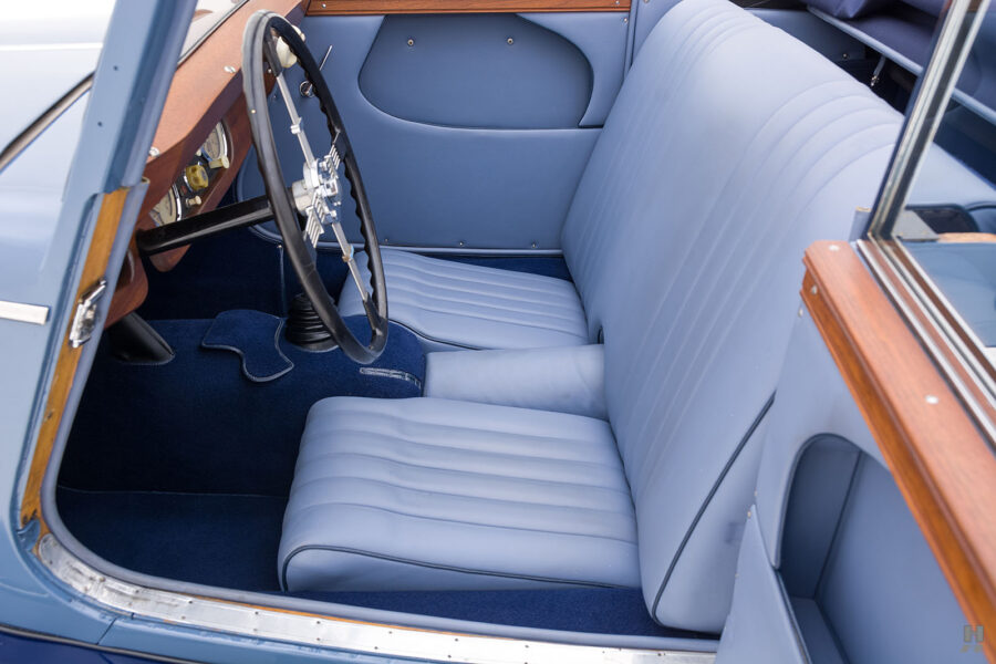 Side view of front seats in antique 1953 Morgan Coupe for sale - find more classic cars at Hyman Dealers in St. Louis, Missouri