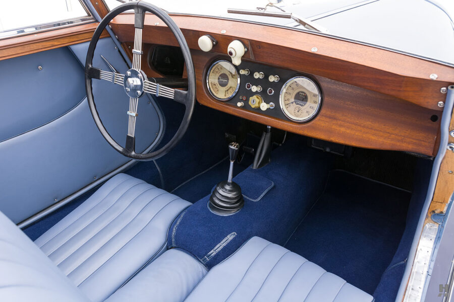 Front interior seats in vintage 1953 Morgan Drophead Coupe for sale at Hyman vehicle consignment dealers in St. Louis